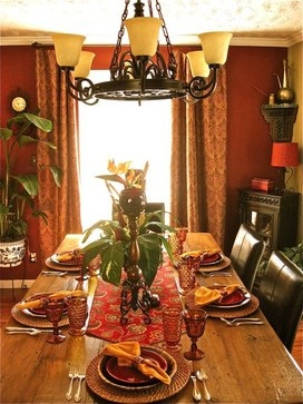 Tropical Dining Room with Ambers Hues by Anita Diaz for Far Above Rubies