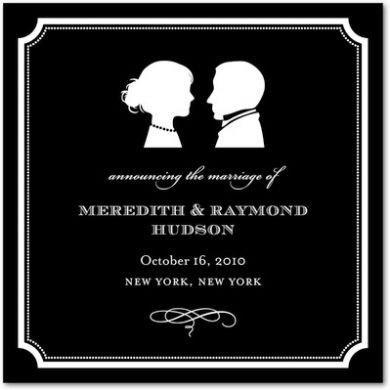 Classic Silhouette Signature White Wedding Announcements Black   Wedding  Ideas By Wedding Paper Divas   Loverly
