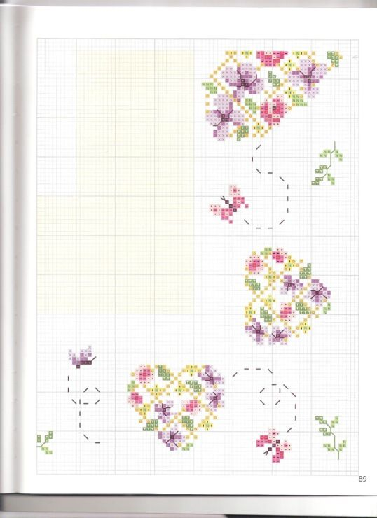 Cross-stitch Floral Hearts & Butterflies Tablecloth pattern, part 3... color chart on part 2... Gallery.ru / Фото #71 - 55-1 - kento