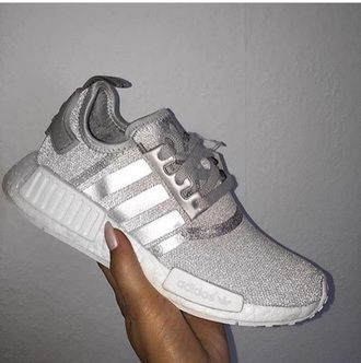 shoes silver adidas glitter grey sneakers