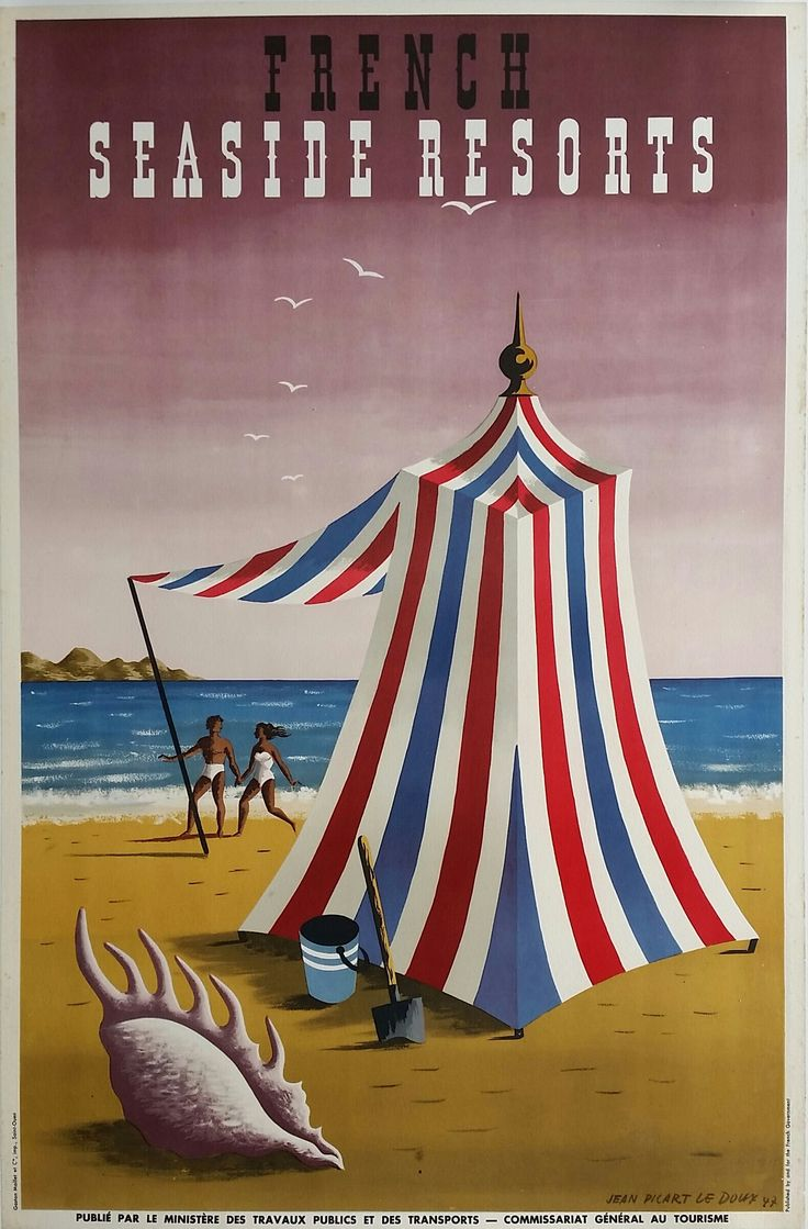 Original+vintage+poster+France+seaside+resorts+1947+-+Jean+Picart+Le+Doux
