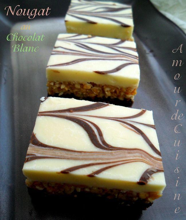 Nougat au chocolat blanc , gateau sans cuisson