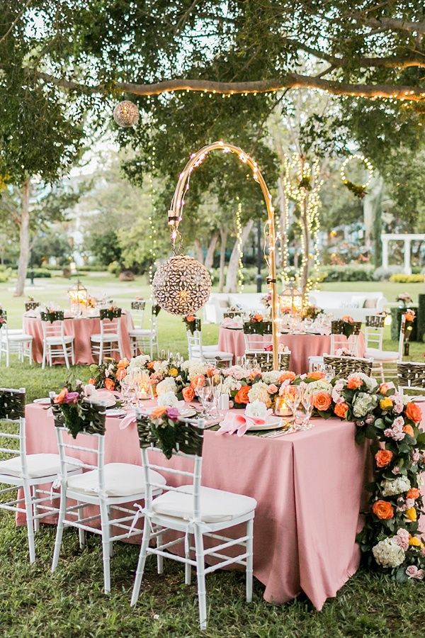 Ultimate luxe garden wedding ideas from Sandals in Jamaica with floral swag