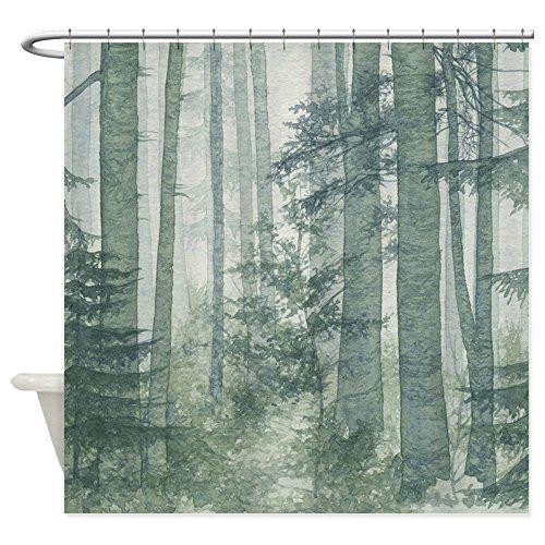 Bathroom Rugs Ideas | CafePress Misty Forest Shower Curtain Decorative  Fabric Shower Curtain ***