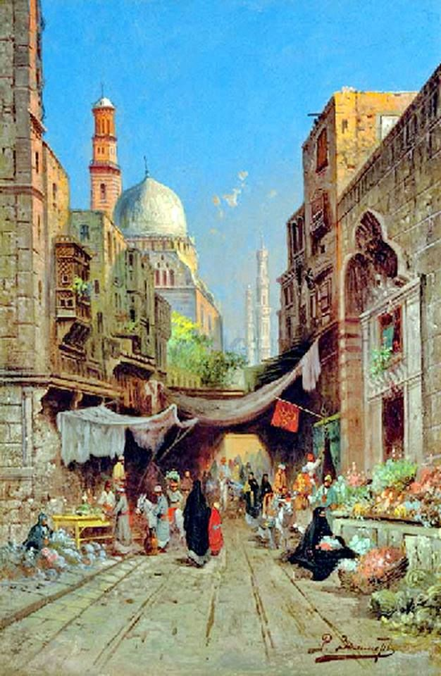 At the Bazaar , Cairo  by Richard Karlovich Zommer - Russian , 1866-1939