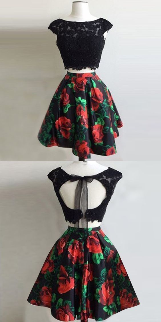 Great Two Piece Bateau Open Back Short Black Floral Homecoming Dress with Appliques
