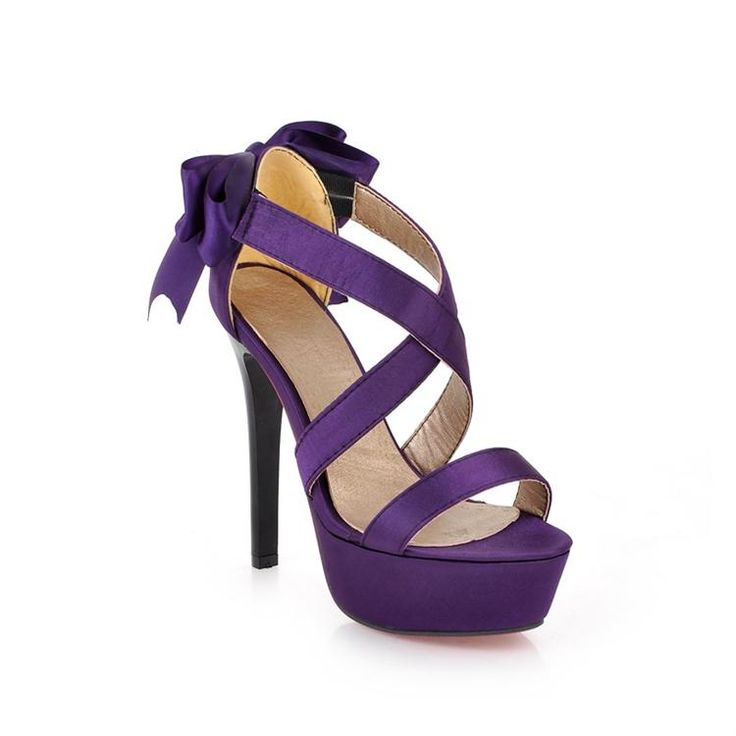 Purple Strappy High Heel Fashion Sandals With Bow on Luulla