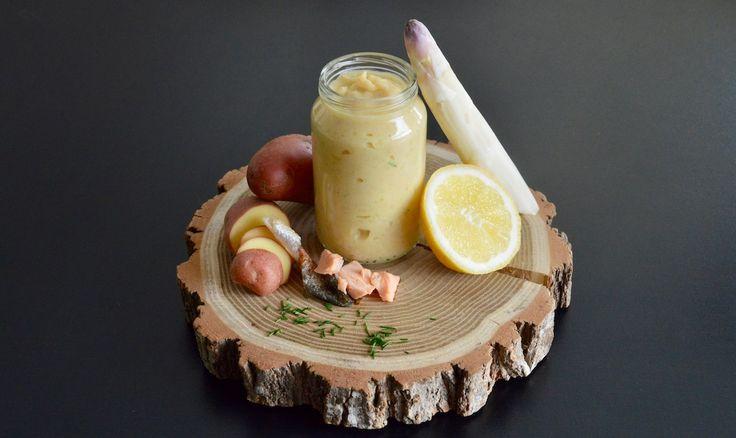 Recette bébé purée d'asperges blanches ciboulette citron à la truite (Dès 9 mois). Un petit pot maison tout en douceur, parfait pour la diversification alimentaire  de bébé !