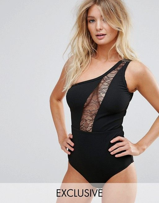 Wolf & Whistle Lace Insert One Shoulder Swimsuit