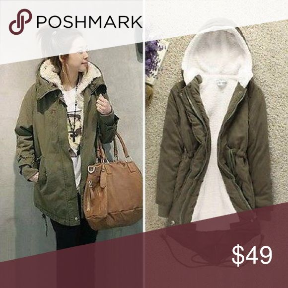 Winter Fleece Hooded Overcoat (unisex) This jacket is a forts green with a zipper. It had a fleece inside. It is very warm and perfect for winter outings. Recommended as a women's small but also can be used for pre teen boys and girls. Jackets & Coats