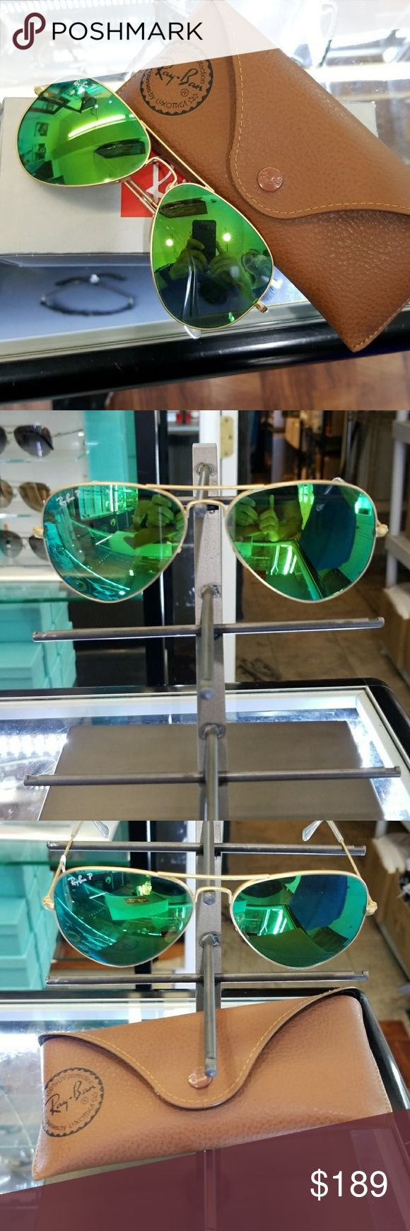 Ray ban sunglasses 3025 green polarized lens 3025 aviators polarized lens size 58 authentic with warranty Ray-Ban Accessories Sunglasses
