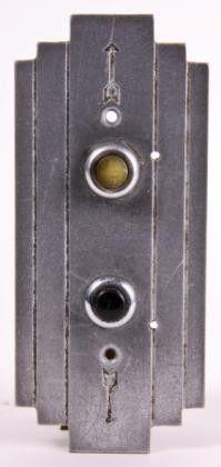 streamlined art deco style cast aluminum elevator cab call push button backplate
