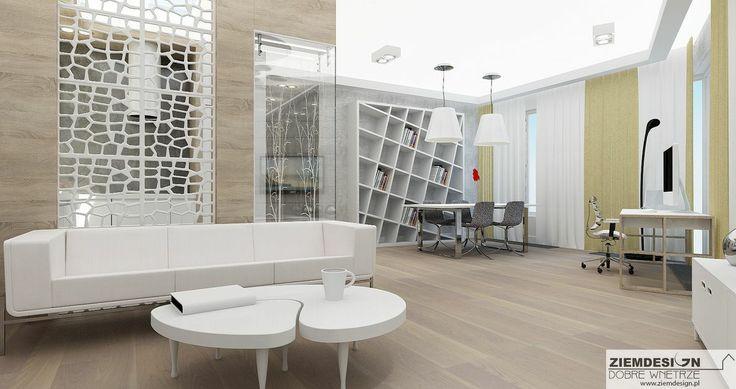 Propozycja oddzielenia kuchni od salonu ażurową ścianą w połączeniu ze szkłem z wypiaskowanym wzorem