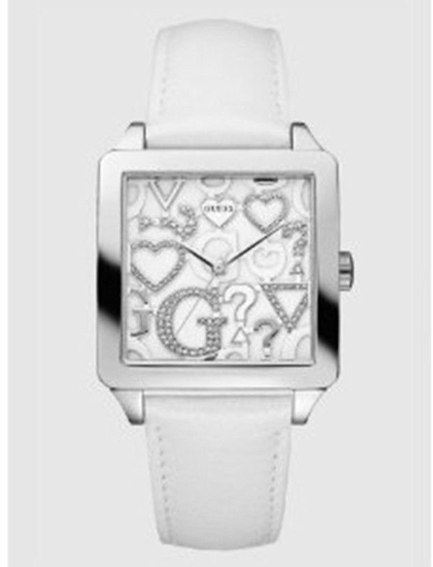 Women's watches:  Best white watches for women Guess Women's U85115L1 White Leather Quartz Watch with Silver Dial