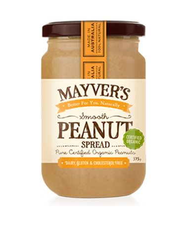100% PURE-STATE ORGANIC SMOOTH PEANUT SPREAD   Mayver's pure-state Organic Smooth Peanut Spread is made from just pure certified organic peanuts. Unlike many other brands, Mayver's Smooth Peanut Spread is certified organic with no added oil, sugar, salt or hardened fats. The handpicked certified organic peanuts are lightly roasted and stone ground to give a naturally sweet tasting, smooth texture. See more at: http://www.mayvers.com.au/pantry/#sthash.fzmNsmWM.dpuf