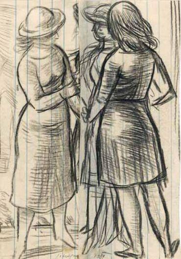 Yannis Moralis - Three girls, 1939
