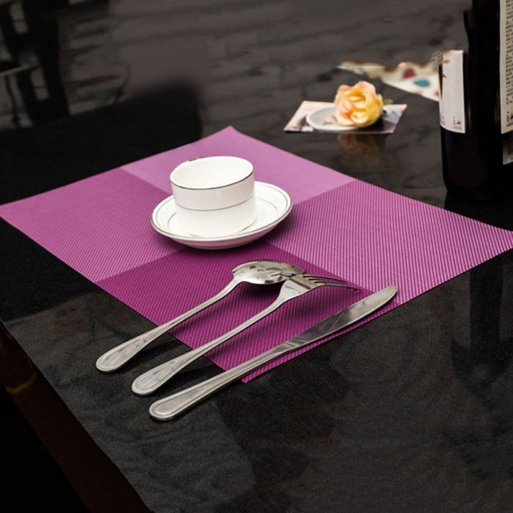PVC Meja Makan Tikar Dapur Alat Peralatan Makan Pad Coaster Kopi Teh Tempat Tikar 44.7*30 cm