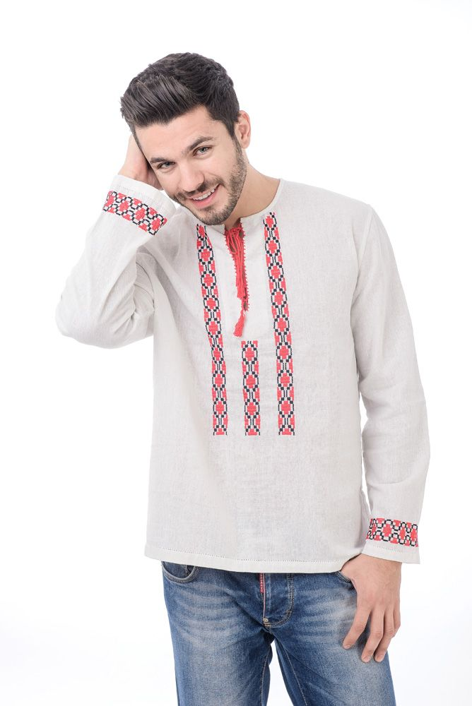 Camasa de barbati traditional romaneasca din in, brodata 100 %manual cu fir rosu si negru de bumbac.