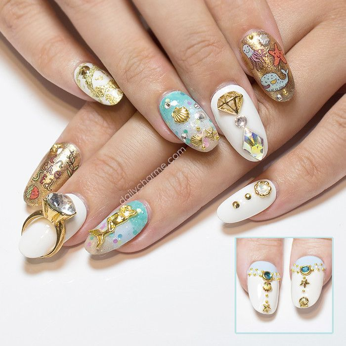 Daily Charme Exclusive! You will receive a set of 25 seashells and starfishes: 10 pieces gold seashells 10 pieces silver seashells 5 pieces gold starfishes Application: Place studs on wet polish or to