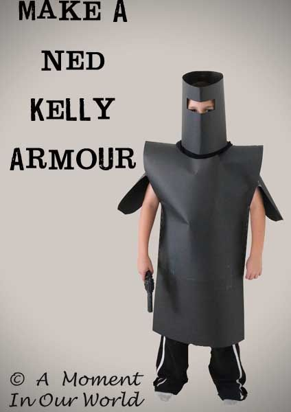 While talking about famous Australian Bushrangers and the famous Ned Kelly, the boys asked if we could try and make the armour like Ned Kelly wore. To make this armour, we used 3-4large sheets of black cardboard. For the helmet, I measured the boys heads and used the largest number, and then added about 10 …