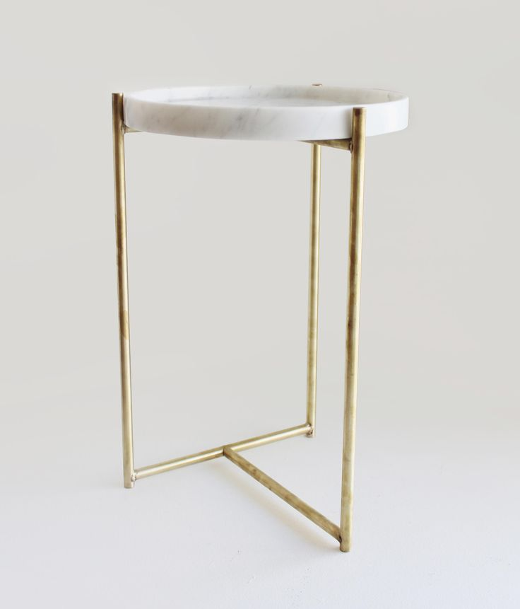 Oliver Marble Tray Side Table Brass by Evie Group | Side tables