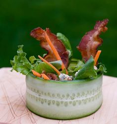 Cucumber Wrap Salad w/ Bacon & Blue Cheese and Pecans with Vinaigrette