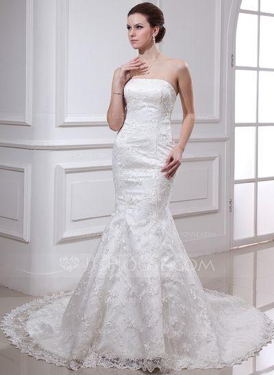 Wedding Dresses - $228.99 - Mermaid Strapless Chapel Train Satin Lace Wedding Dress With Beadwork (002000487) http://jjshouse.com/Mermaid-Strapless-Chapel-Train-Satin-Lace-Wedding-Dress-With-Beadwork-002000487-g487