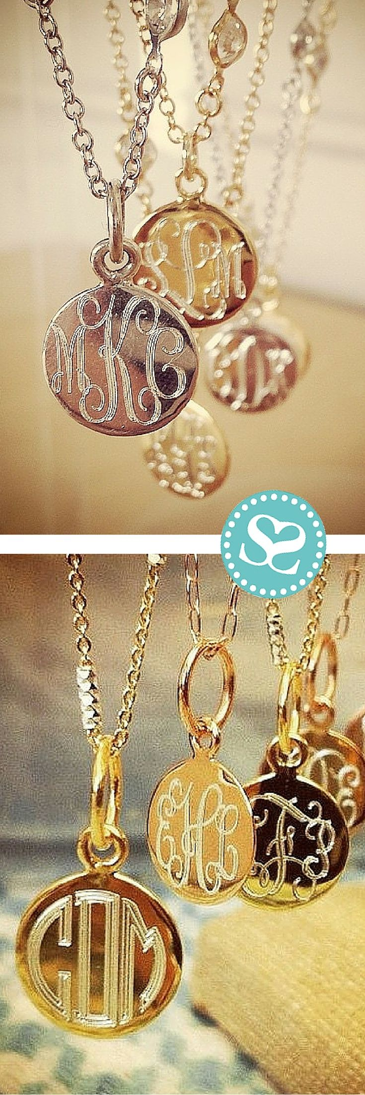 Stunning delicate monogrammed necklaces in sterling silver with a thick plating of gold or rose gold. Our craftsmen engrave these pieces locally with love.  Customize yours with a monogram on the front and a special sentiment or date on the back for the most special gift. #swellcaroline