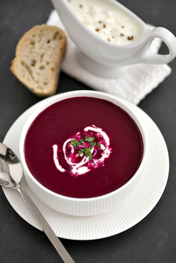 Claire Justine: Roasted Beetroot Soup With Feta Yogurt Dressing...
