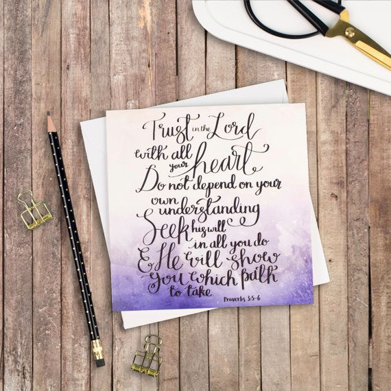 Trust In The Lord - Izzy & Pop Luxury Square Card - Christian Cards - Watercolour Cards - Encouraging Card - Card for a Friend
