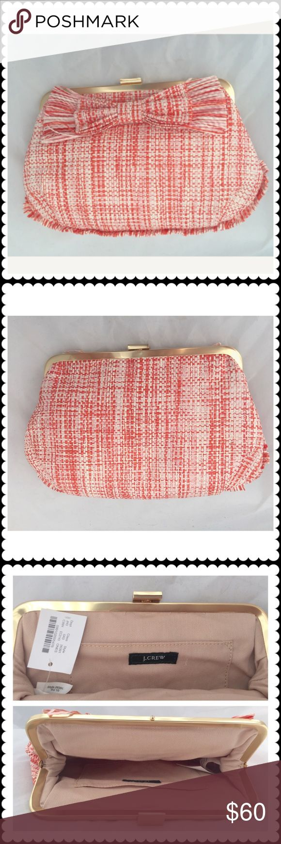 """J. Crew raffia clutch bag J. Crew raffia orange clutch bag with oversized bow and tiny fringes all around the bottom half. New with original tag. Canvas lined. Widest part is about 10"""" and height is about 6"""". J. Crew Bags Clutches & Wristlets"""