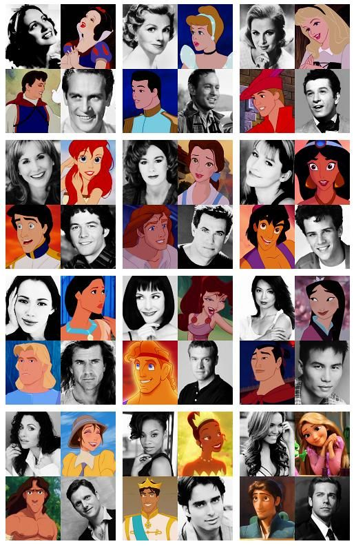 Disney animated characters and their voice actors. Some of them actually look like their characters. haha.