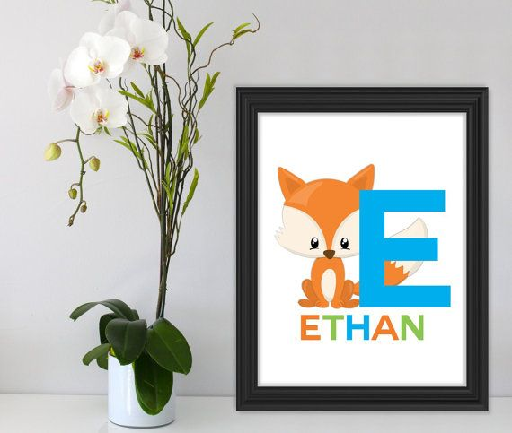 Personalized Fox Print Fox Art Colorful Wall Art Prints by Suselis