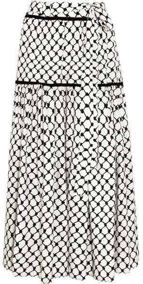 Dodo Bar Or - Tasseled Printed Silk Crepe De Chine Maxi Skirt - Black