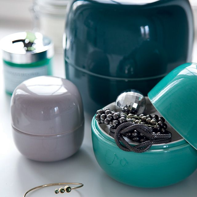 They may serve as jewellery boxes to store your favourite items – stow your earrings on your bedside table – or as storage for your makeup in the bathroom, or simply accent your living room with the elegant ceramic jars.