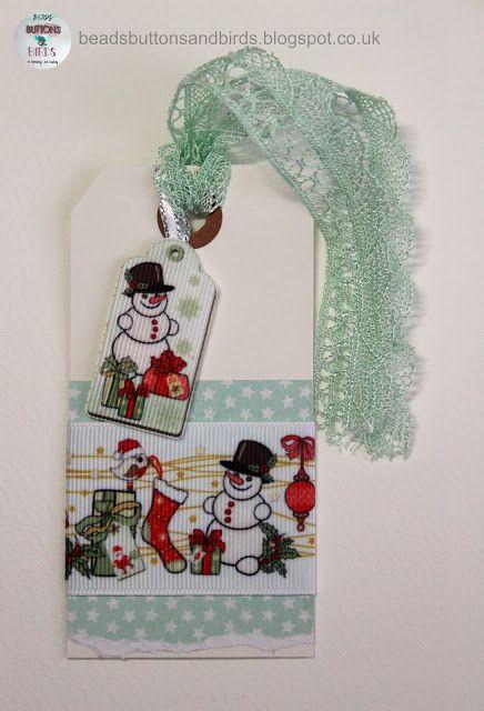 beads buttons & birds: Snowman Tag