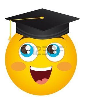 smiley+face+cartoon%3A+geel+blij+gezicht+afgestudeerde+hoed%2C+illustratie%2C+Stock+Illustratie