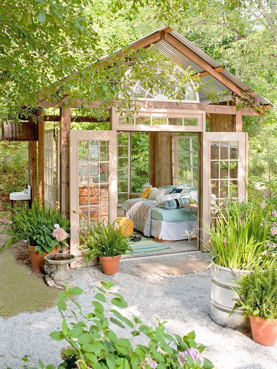 Awesome! $400 Garden Retreat made mostly from repurposed materials download plans at http://bhg.com/gardenhut?utm_content=buffer3ffde&utm_medium=social&utm_source=pinterest.com&utm_campaign=buffer