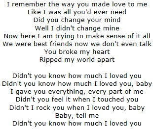 Didn't You Know How Much I Loved You- Kellie Pickler