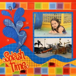 Pool scrapbook page with a splash from Noah's ABC Animals - from Me and My Cricut | Travel Scrapbook 21-Florida | http://meandmycricut.com