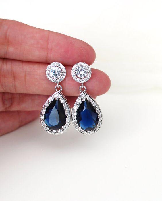 Sapphire Earrings Blue Wedding Bridal Earrings cubic zirconia earrings by DreamIslandJewellery