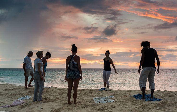 Sunset yoga, Camiguin Island, Philippines.