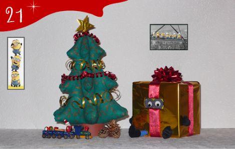 Jour 21 : un cadeau au pied du sapin ?! ... Mais c'est notre minion qui s'est déguisé en cadeau ! Patience... Noël approche... - CREAKIT Loisirs Créatifs