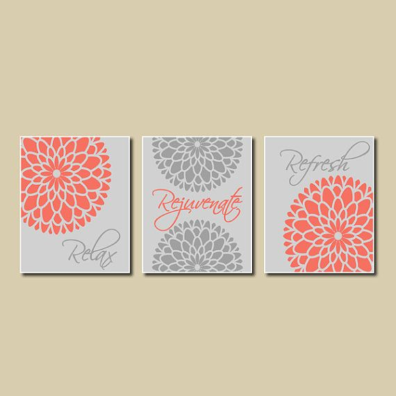 Modern Floral Flower Flourish Coral Gray Artwork Set Of 3 Trio Prints Relax Rejuvenate Refresh Wall Coral Bathroom Decorbathroom