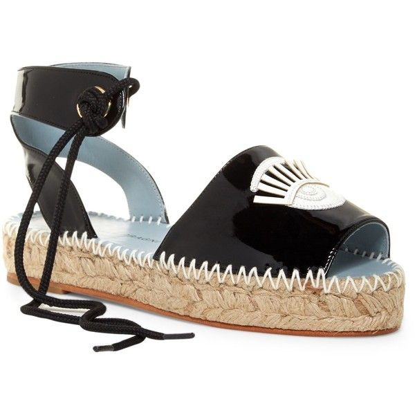 Chiara Ferragni Patent Leather Espadrille ($190) ❤ liked on Polyvore featuring shoes, sandals, black, black patent leather shoes, espadrille sandals, black sandals, platform sandals and patent leather sandals