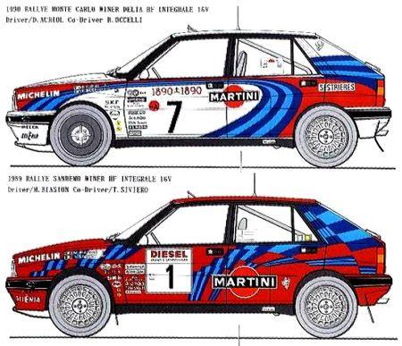 Lancia Delta paint schemes for Biasion & Auriol