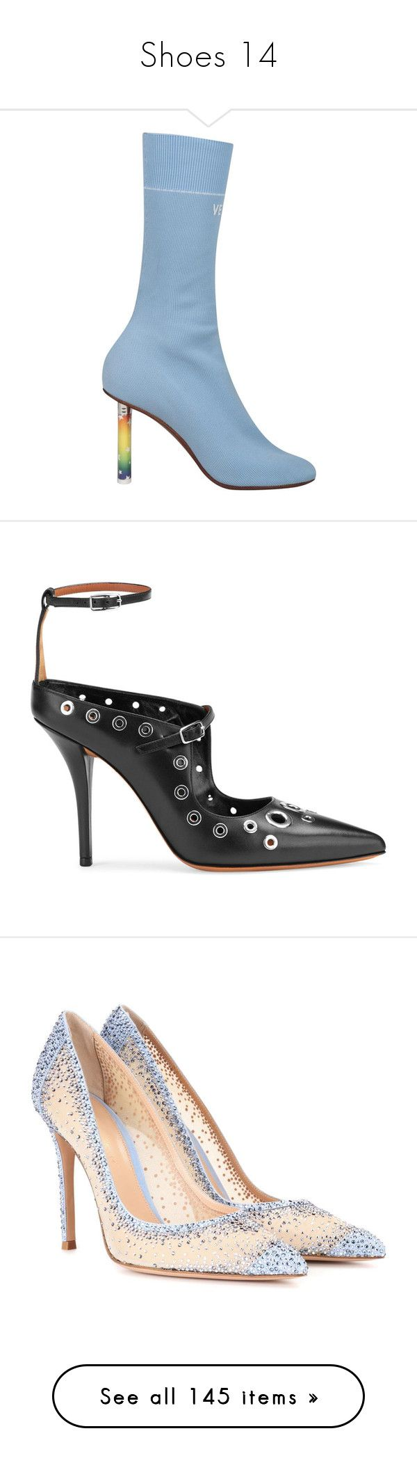 """""""Shoes 14"""" by fashionmahlo ❤ liked on Polyvore featuring shoes, boots, azzurro, vetements shoes, sock boots, pumps, black, black ankle strap shoes, pointy toe pumps and black leather shoes"""