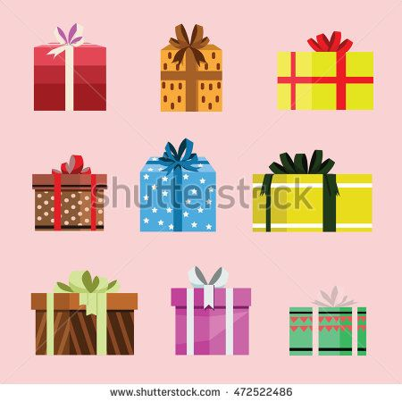 gift box birthday set present with different pattern. vector illustration 108