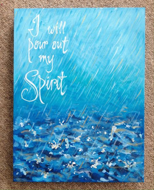 I will pour out my Spirit. Draw Close Blog. Bible art, Bible journaling. Rain, painting.