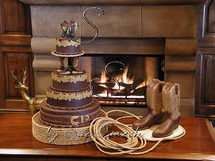 Love these Cowboy and Cowgirl His and Her Wedding Cakes!